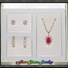 Exquisite CZ  Pendent Necklace & 2 Pair Of Earrings Gold Plt Set