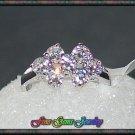 Brilliant Sparkle CZ Floral Design Silver Plt Ring  - Size 5