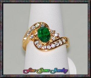 Emerald Green Oval & Clear Cz Gold Plt Ring - Sz 6