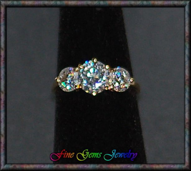 Lovely Past, Present, Future Clear Cz Gold Plt Ring - Sz 8