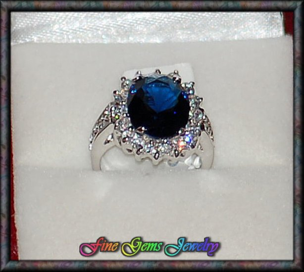 Gorgeous Sapphire Blue & Clear Cz Silver Plt Ring - Sz 7