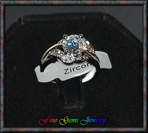 Wedding, Engagement, Promise Clear CZ Silver Plt Ring - Sz 5