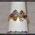 Sparkling Multi Color Floral CZ Gold Plt Ring - Sz 7