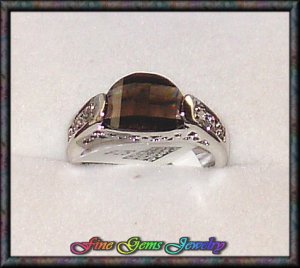 Very Pretty Smoky Color Curved CZ Silver Plt Ring -Sz 6