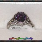 Gorgeous Royal Purple Octagon CZ Silver Plt Ring - Sz 6