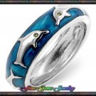 Adorable Blue Enamel Dolphin Silver Plt Ring - Sz 7