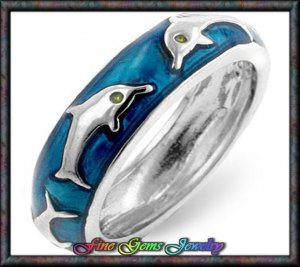 Adorable Blue Enamel Dolphin Silver Plt Ring - Sz 7