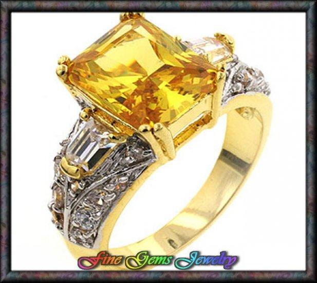 Emerald Cut Sunny Yellow & White Cz Two Tone Plt Ring - Sz 5