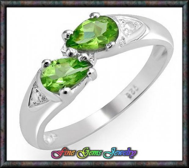0.80ctw Genuine Peridots Solid Sterling Silver Ring - Sz 6