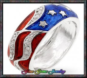 Amazing Red White & Blue Cz Silver Plt Flag Ring - Sz 5
