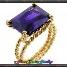Large Emerald Cut Purple Cz Gold Plt Rope Ring - Sz - 5