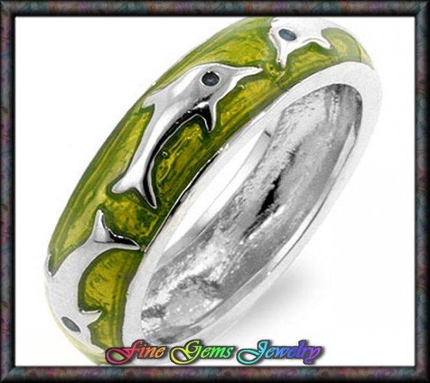 Sweet Green Enamel Dolphin Silver Plt Ring - Sz  8