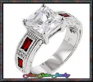 4.05ctw Vintage Princess Cut & Red Baguette Silver Plt  Ring - Sz 8