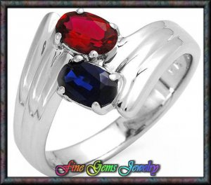 NEW Charming Red & Blue CZ Sterling Silver Ring Sz 5.5