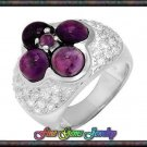 NEW 5.10ctw Genuine Amethyst & White CZ Sterling Silver Ring Sz 8