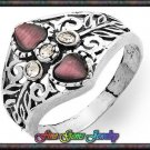 0.90ctw Cr Cats Eye, White CZ Sterling Silver Ring  Sz 7