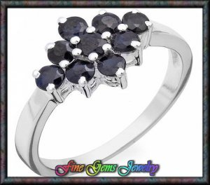 NEW 1.00ctw Genuine Sapphire Sterling Silver Ring Sz 6