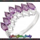 NEW 1.75ctw Genuine Amethyst Sterling Silver Ring Sz 7