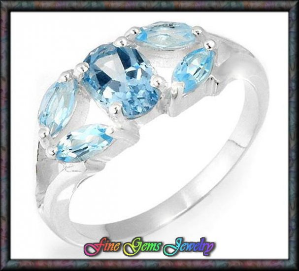 1.80ctw Genuine Topaz Solid Sterling Silver Ring - Sz 6