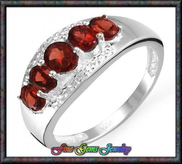 1.51ctw Genuine Garnet, Topaz Sterling Silver Ring Sz 7