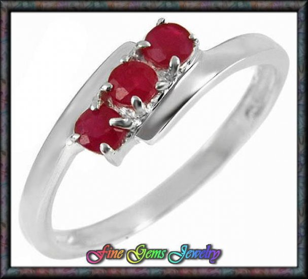0.36ctw Genuine Rubies Solid Sterling Silver Ring -Sz 7