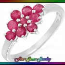 NEW 0.90ctw Genuine Rubies Sterling Silver Ring - Sz 7
