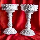 Fenton Scarce-Petite Epergne-Candles White Hobnail NR