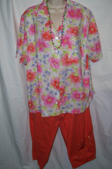 Womens's Orange Sparkle Capris &  Floral Top - Sz. 2X