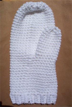White Cotton Crochet Bath Mitt