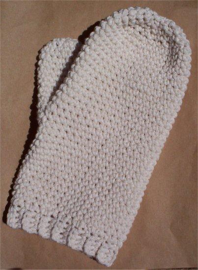 Ecru Cotton Crochet Bath Mitt