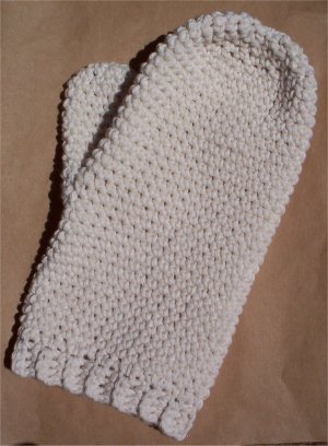 Ecru Cotton Crochet Bath Mitt