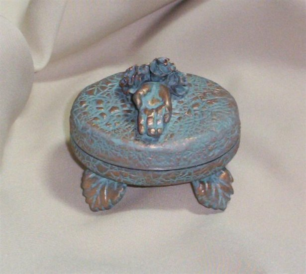 Verdigris Hinged Box with sculpted hand and roses