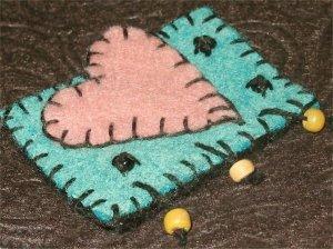 HeartFelt - stitched pink heart - pin/brooch