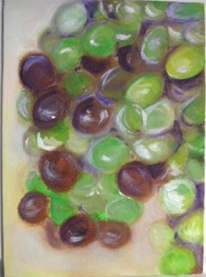 "Christine Wong Original Oil Painting *GRAPES* 5""x7"" Canvas Board Signed One Of A Kind Arts"