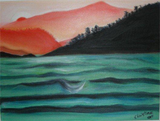 Christine ART Original Oil Painting SUNRISE SUNSET SEA