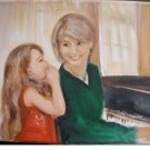 Christine Original Oil Paintings GIRL MOM WHISPER PIANO