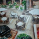 Christine ART Original Oil Paintings PIANO LOUNGE CAFE*