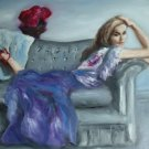 Christine ART Original Oil Painting LOUNGED THE DAY AWAY 2011