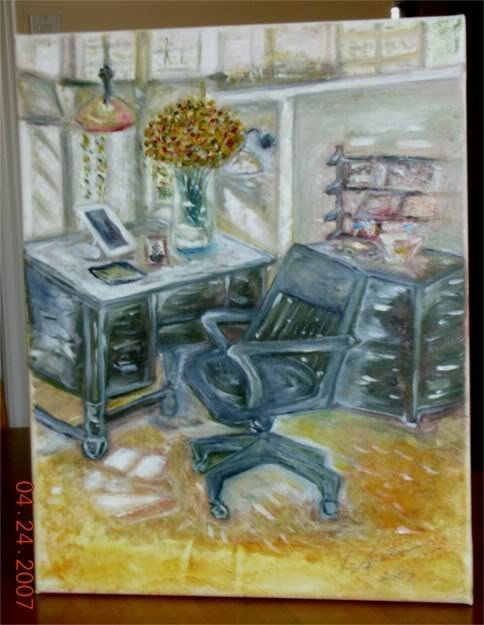 Christine ART Original Oil Painting DREAM OFFICE Signed 2007 by Artist