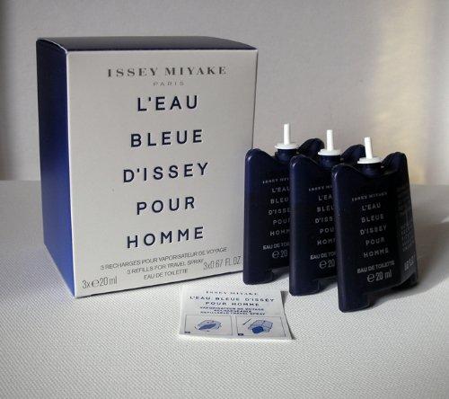 L'EAU BLEUE D'ISSEY Pour Homme 3x 20 ml Refills EDT Spray ISSEY MIYAKE NIB!