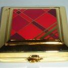 ESTEE LAUDER Powder Compact RED TARTAN 2006 Enamel Square Shape Limited NIB!