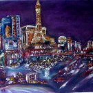Christine ARTIST Original Oil Painting SLEEPLESS CITY LAS VEGAS Signed 2008 ART