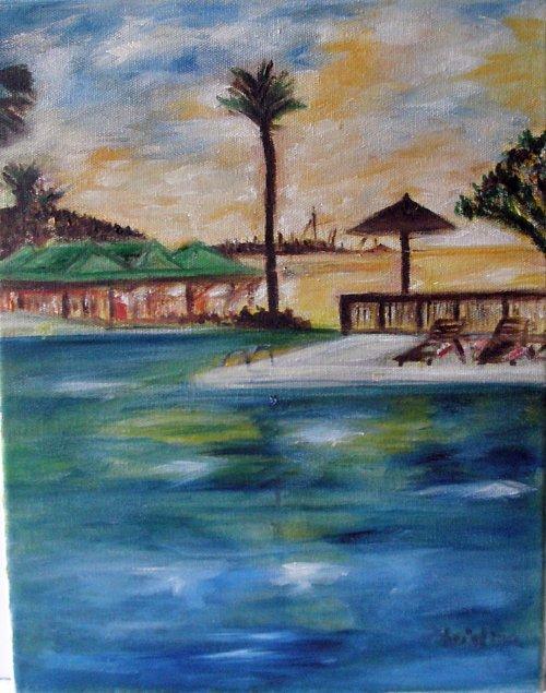 Christine ART Original Oil Painting Summer Vacation Resort Signed Artist 2008