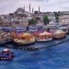 Christine ART Original Oil Painting ISTANBUL Sunset By The Sea Signed 2013