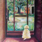 Christine ART Original Oil Painting Puppy by the window Signed by Artist 2009