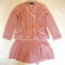 CHANEL 2014 Knitwear Sweater Cardigan Skirt Set Pink Stripes Size 36 ITALY NWOT