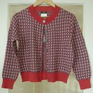 CHANEL Sweater Knitwear Cardigan RED/BLUE Checker Cotton Blend Size 38(Italy) NWOT!