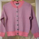 CHANEL Sweater Knitwear Cardigan PINK/GREY Checker Cotton Blend Size 38(Italy) NWOT!
