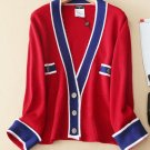CHANEL Pure Cashmere Sweater RED BLUE Cardigan Top CC Signature Buttons Size 38