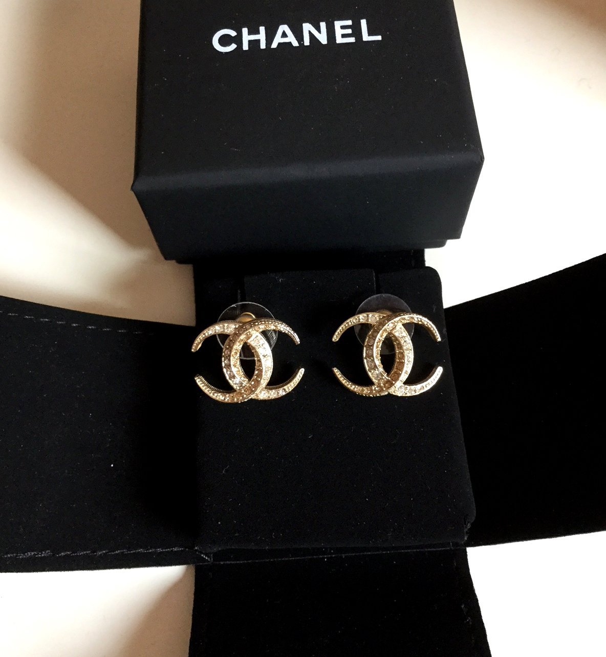 CHANEL Crescent Moon Gold/Clear Crystal Stud Earrings DUBAI Medium Size CC
